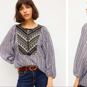 Anthropologie Daeira Embroidered Blouse XS (S/M)